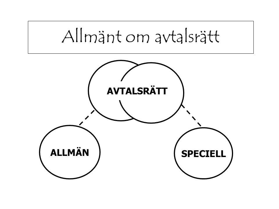 Allmänt om avtalsrätt ALLMÄN SPECIELL AVTALSRÄTT