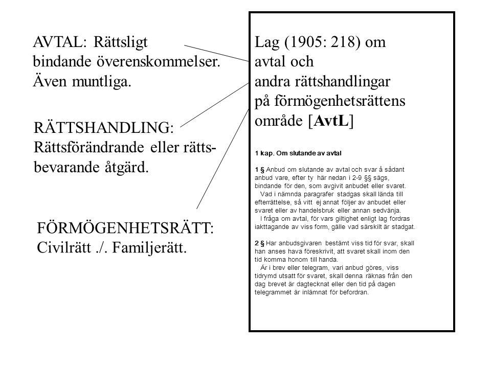 Lag (1905: 218) om avtal och andra rättshandlingar på förmögenhetsrättens område [AvtL] 1 kap.