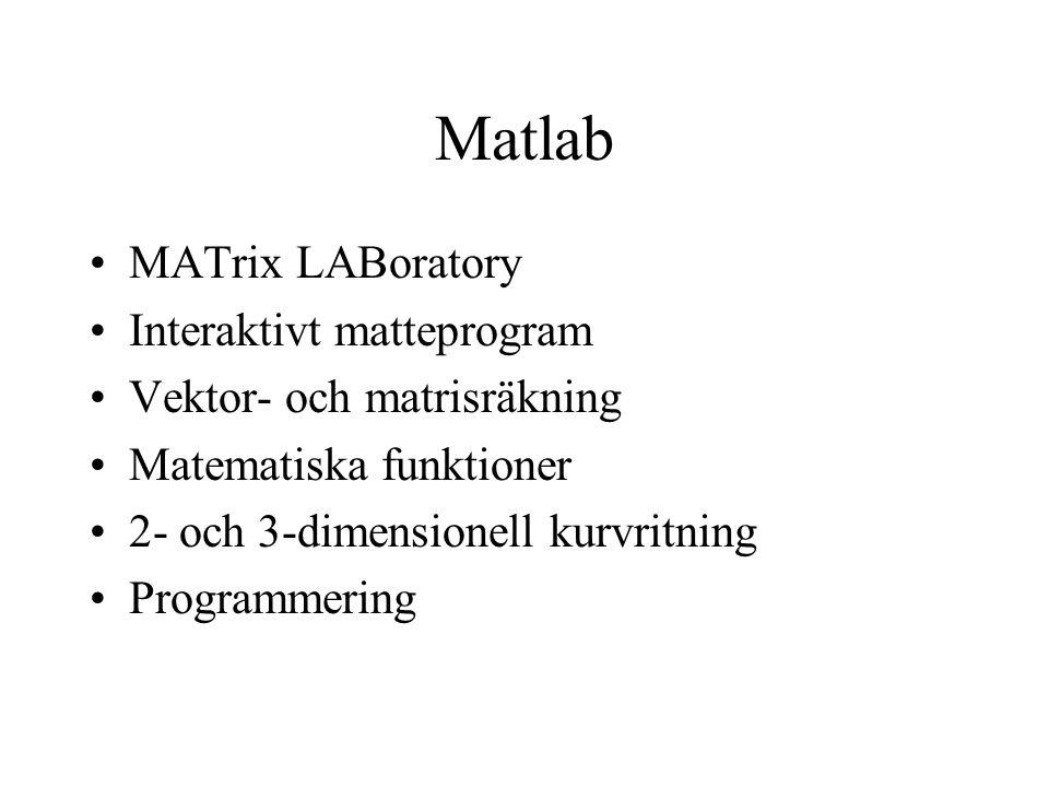 Matlab MATrix LABoratory Interaktivt matteprogram Vektor- och matrisräkning Matematiska funktioner 2- och 3-dimensionell kurvritning Programmering