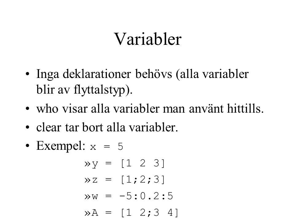 Operatorer Matematiska operationer är definierade även för hela vektorer/matriser.