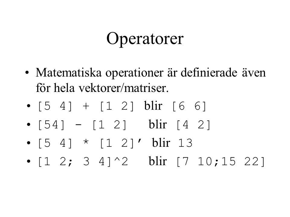 Elementvisa operatorer Elementvisa operationer görs för varje element i vektorn/matrisen.