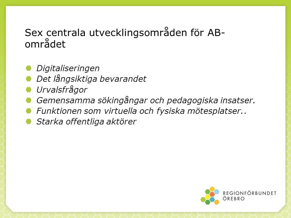Sex centrala utvecklingsområden för AB- området Digitaliseringen Det långsiktiga bevarandet Urvalsfrågor Gemensamma sökingångar och pedagogiska insatser.