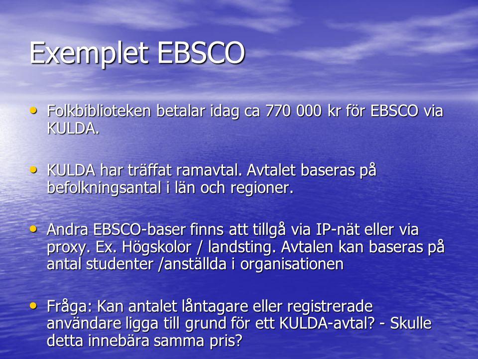 Exemplet EBSCO Folkbiblioteken betalar idag ca 770 000 kr för EBSCO via KULDA.