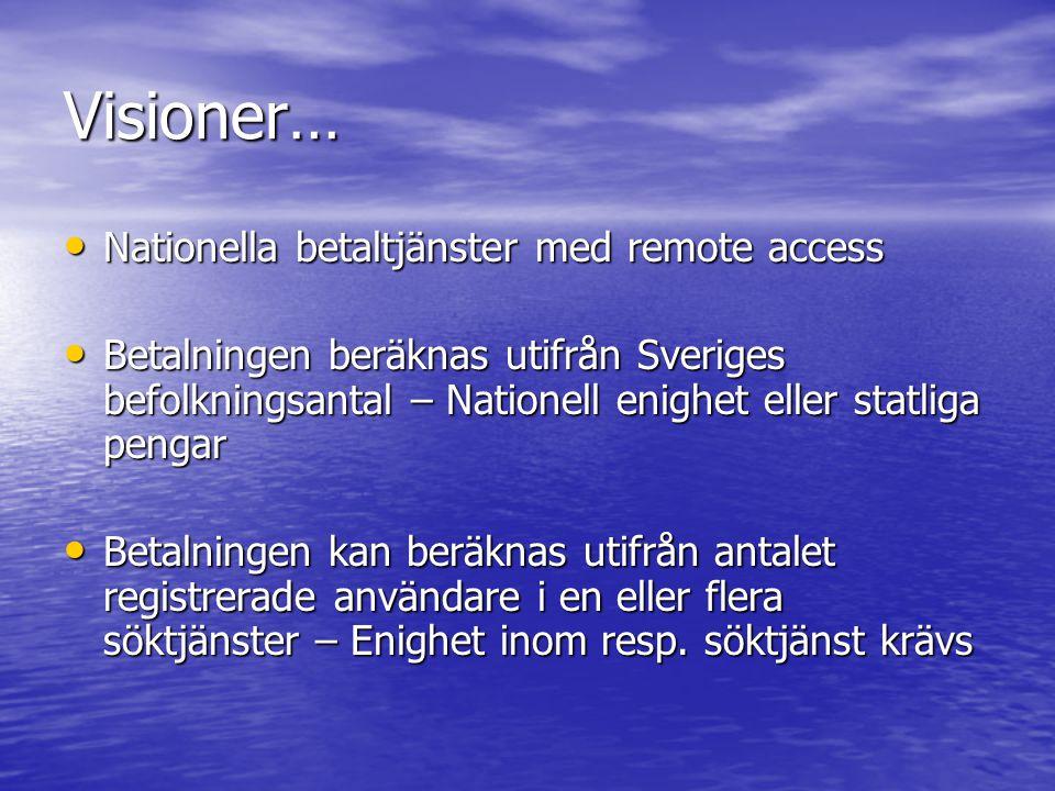 Visioner… Nationella betaltjänster med remote access Nationella betaltjänster med remote access Betalningen beräknas utifrån Sveriges befolkningsantal – Nationell enighet eller statliga pengar Betalningen beräknas utifrån Sveriges befolkningsantal – Nationell enighet eller statliga pengar Betalningen kan beräknas utifrån antalet registrerade användare i en eller flera söktjänster – Enighet inom resp.