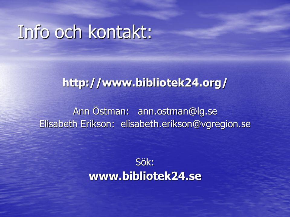 Info och kontakt: http://www.bibliotek24.org/ Ann Östman: ann.ostman@lg.se Elisabeth Erikson: elisabeth.erikson@vgregion.se Sök:www.bibliotek24.se