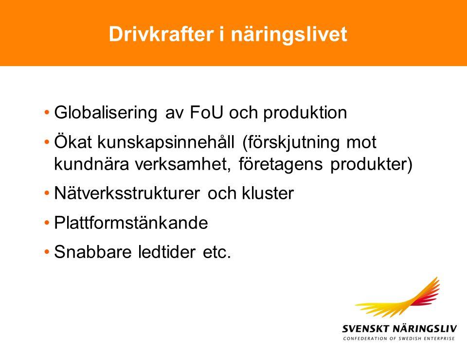 Drivkrafter i näringslivet Globalisering av FoU och produktion Ökat kunskapsinnehåll (förskjutning mot kundnära verksamhet, företagens produkter) Nätv