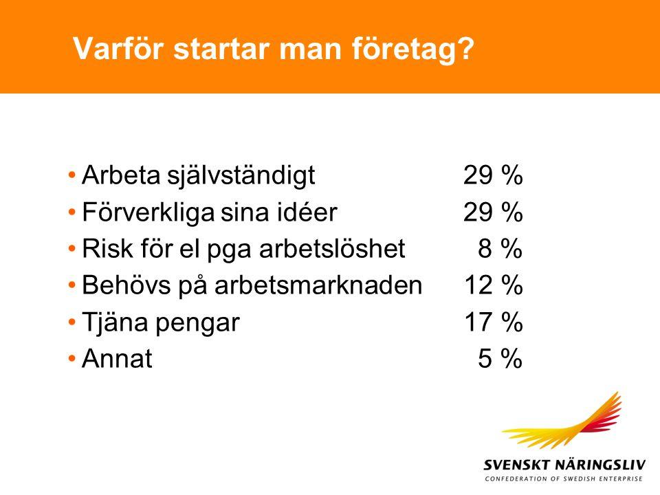 Varför startar man företag? Arbeta självständigt29 % Förverkliga sina idéer29 % Risk för el pga arbetslöshet 8 % Behövs på arbetsmarknaden12 % Tjäna p