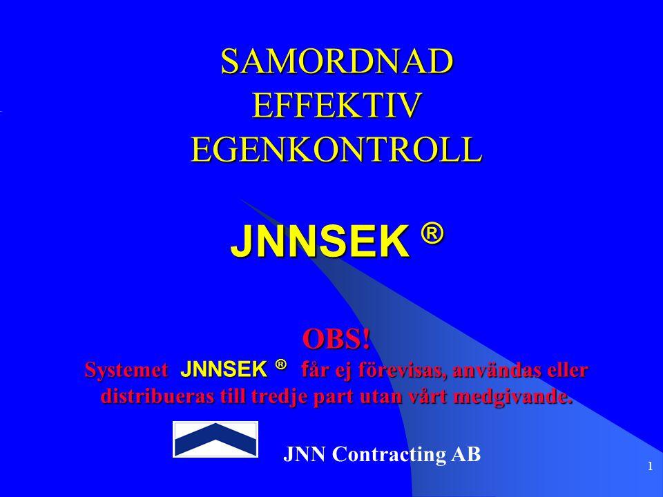 1 SAMORDNAD EFFEKTIV EGENKONTROLL JNNSEK ® OBS! Systemet JNNSEK ® f år ej förevisas, användas eller distribueras till tredje part utan vårt medgivande