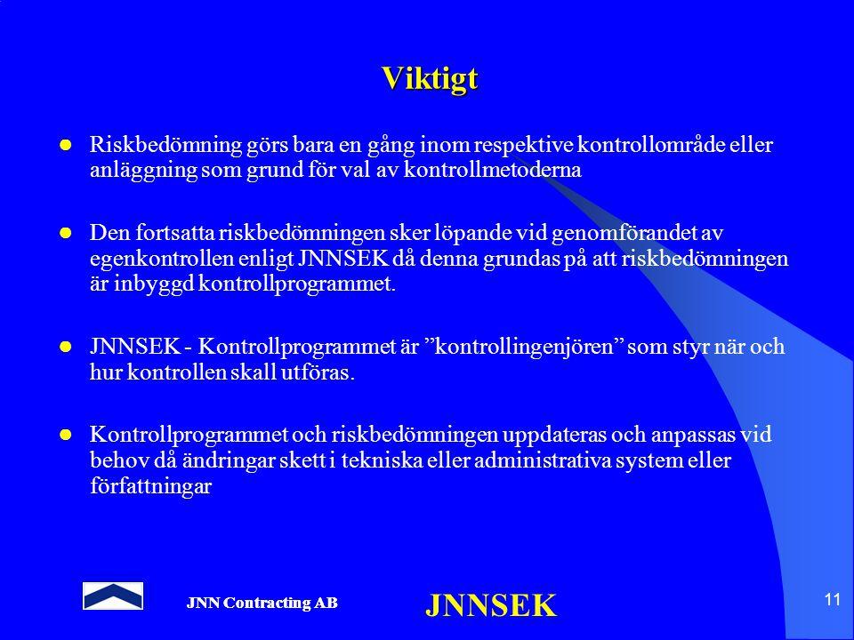 JNN Contracting AB JNNSEK 11 Viktigt ● Riskbedömning görs bara en gång inom respektive kontrollområde eller anläggning som grund för val av kontrollme