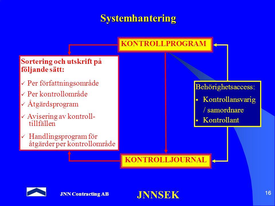 JNN Contracting AB JNNSEK 16 Systemhantering KONTROLLPROGRAM KONTROLLJOURNAL Sortering och utskrift på följande sätt: Per författningsområde Per kontr