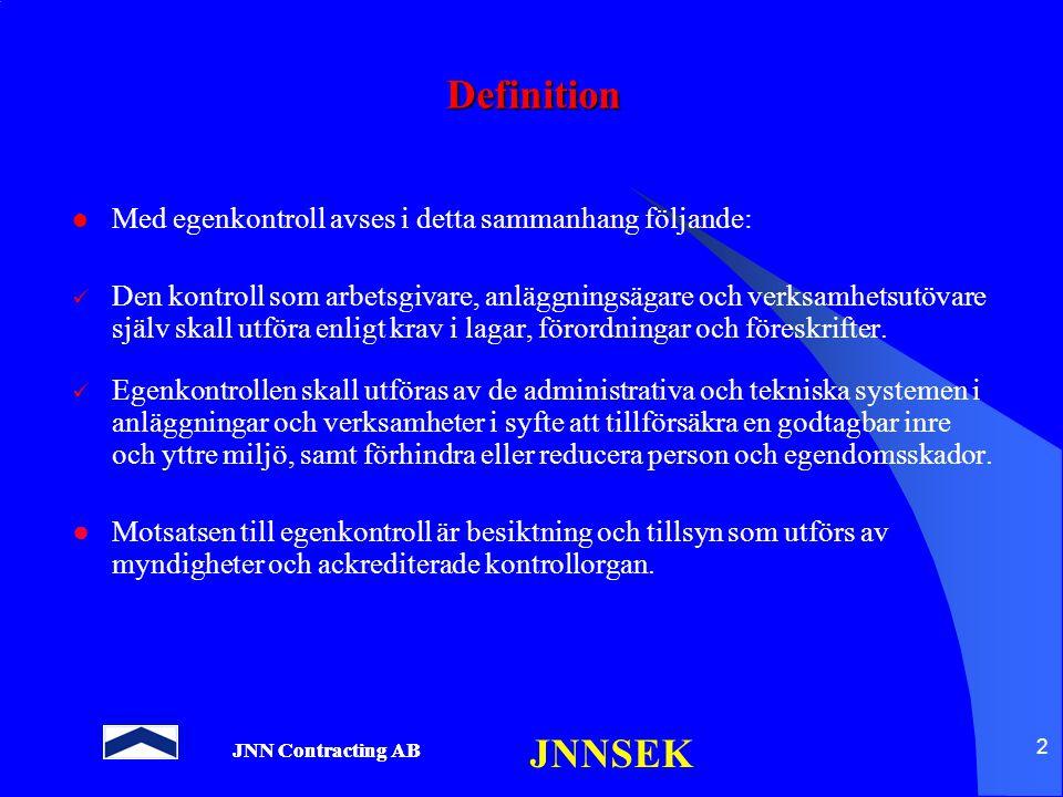 JNNSEK 2 Definition Med egenkontroll avses i detta sammanhang följande: Den kontroll som arbetsgivare, anläggningsägare och verksamhetsutövare själv s