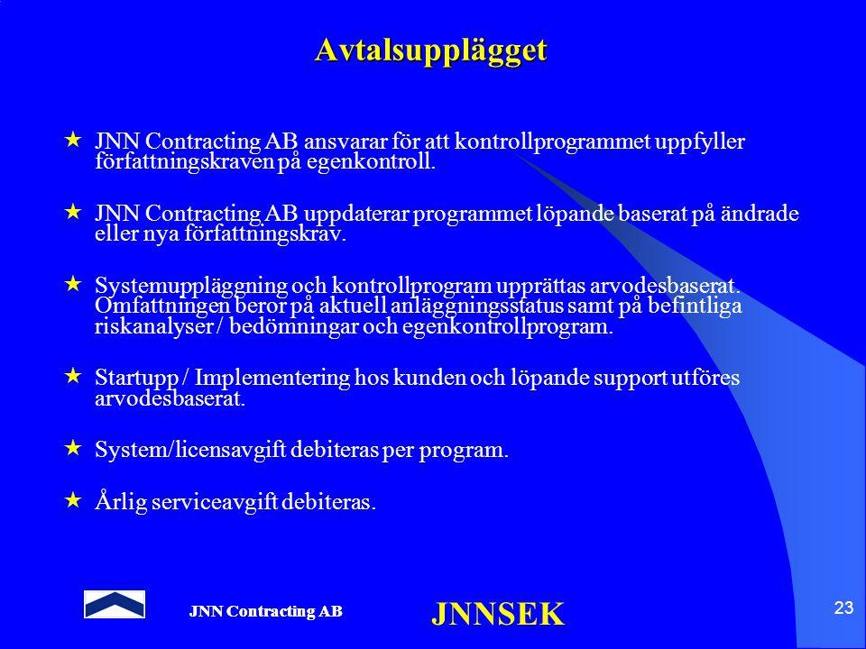 JNN Contracting AB JNNSEK 23 Avtalsupplägget  JNN Contracting AB ansvarar för att kontrollprogrammet uppfyller författningskraven på egenkontroll. 