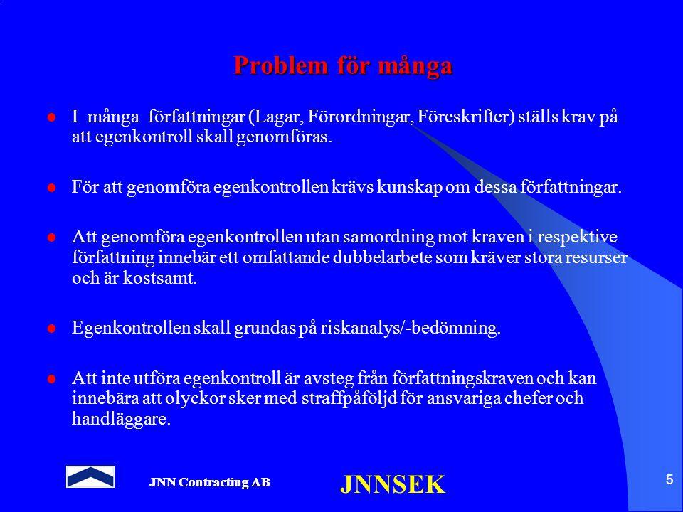 JNN Contracting AB JNNSEK 5 Problem för många I många författningar (Lagar, Förordningar, Föreskrifter) ställs krav på att egenkontroll skall genomför