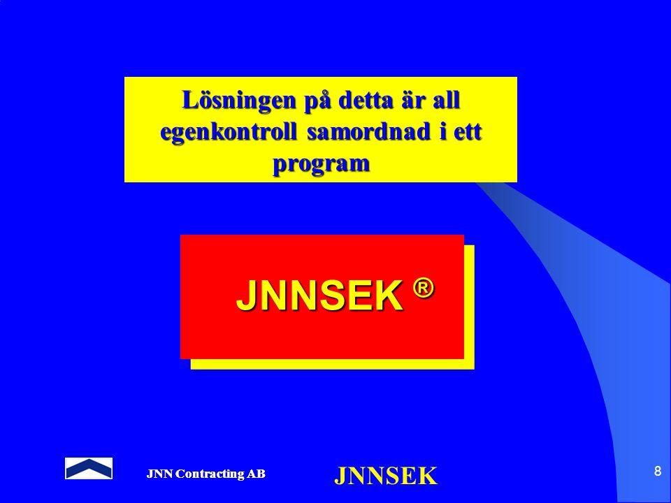 JNN Contracting AB JNNSEK 8 Lösningen på detta är all egenkontroll samordnad i ett program JNNSEK ®