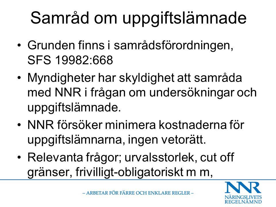 Samråd om uppgiftslämnade Grunden finns i samrådsförordningen, SFS 19982:668 Myndigheter har skyldighet att samråda med NNR i frågan om undersökningar och uppgiftslämnade.