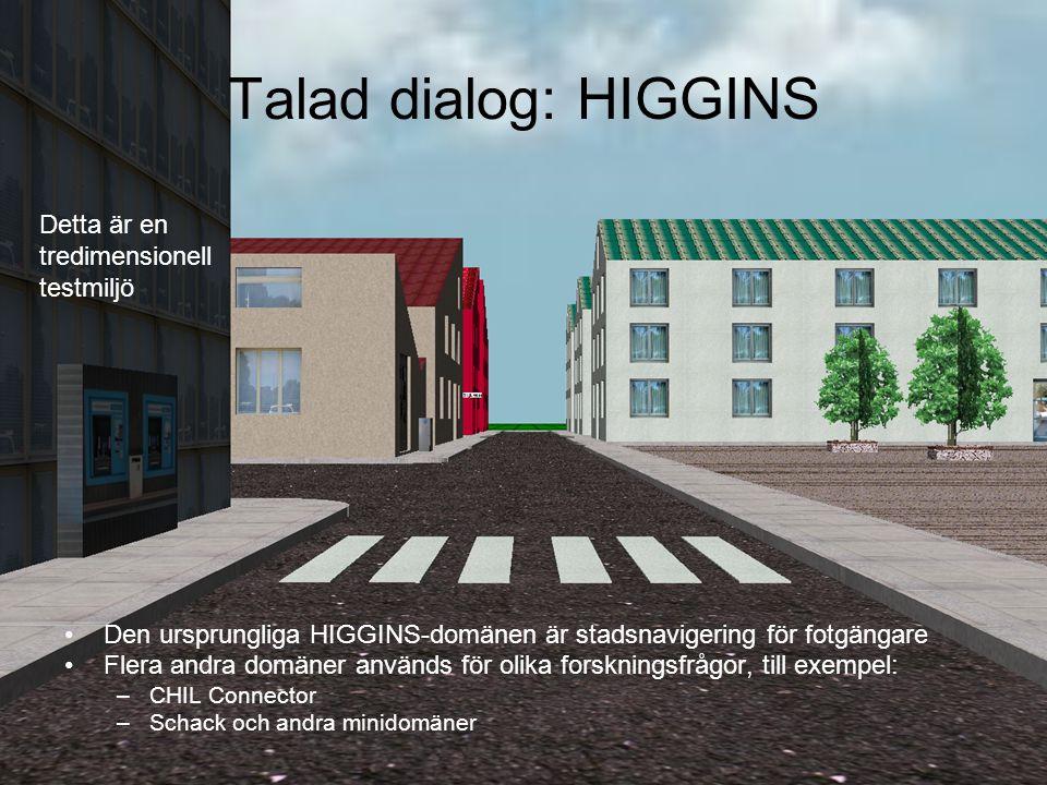 Talad dialog: HIGGINS Den ursprungliga HIGGINS-domänen är stadsnavigering för fotgängare Flera andra domäner används för olika forskningsfrågor, till exempel: –CHIL Connector –Schack och andra minidomäner Detta är en tredimensionell testmiljö