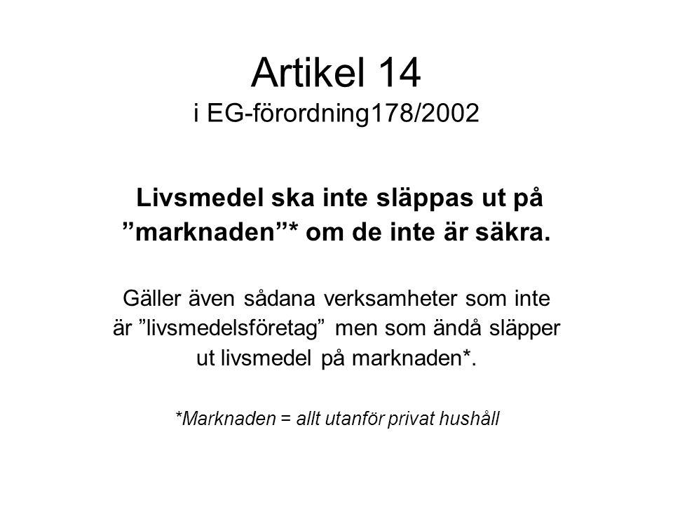 """Artikel 14 i EG-förordning178/2002 Livsmedel ska inte släppas ut på """"marknaden""""* om de inte är säkra. Gäller även sådana verksamheter som inte är """"liv"""