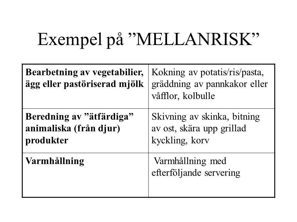 """Exempel på """"MELLANRISK"""" Bearbetning av vegetabilier, ägg eller pastöriserad mjölk Kokning av potatis/ris/pasta, gräddning av pannkakor eller våfflor,"""