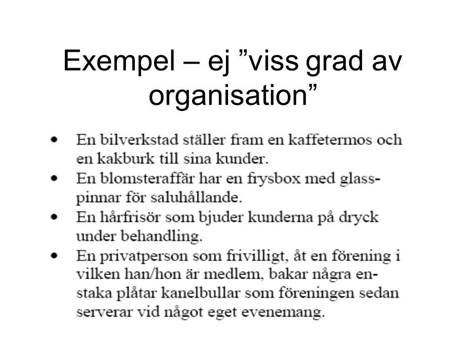 """Exempel – ej """"viss grad av organisation"""""""