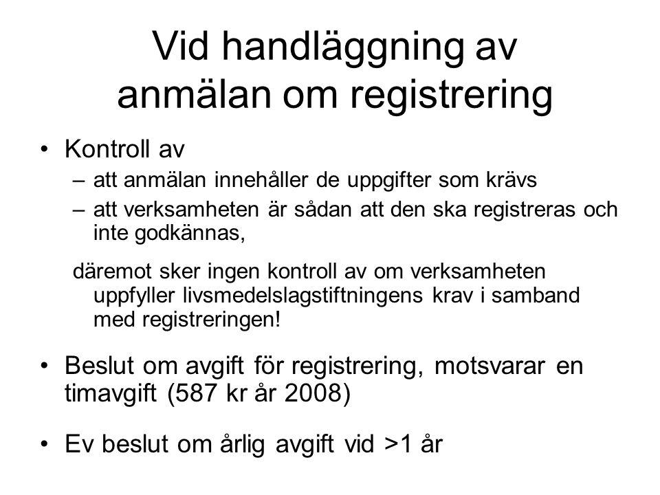 Vid handläggning av anmälan om registrering Kontroll av –att anmälan innehåller de uppgifter som krävs –att verksamheten är sådan att den ska registre