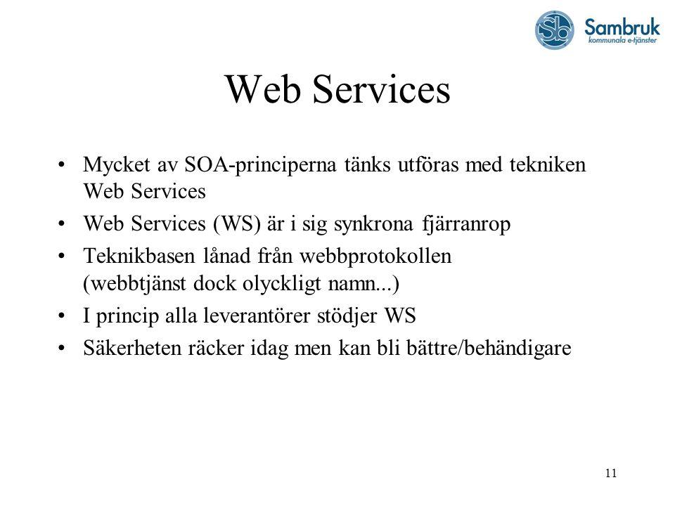 11 Web Services Mycket av SOA-principerna tänks utföras med tekniken Web Services Web Services (WS) är i sig synkrona fjärranrop Teknikbasen lånad frå