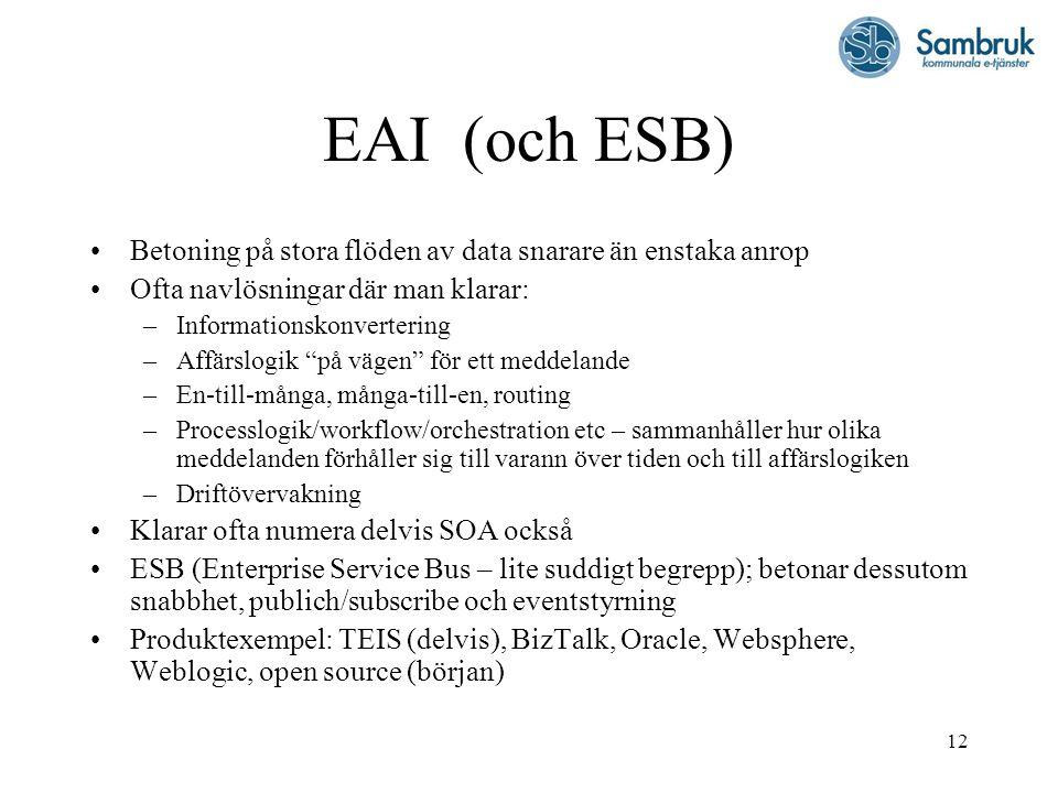 """12 EAI (och ESB) Betoning på stora flöden av data snarare än enstaka anrop Ofta navlösningar där man klarar: –Informationskonvertering –Affärslogik """"p"""