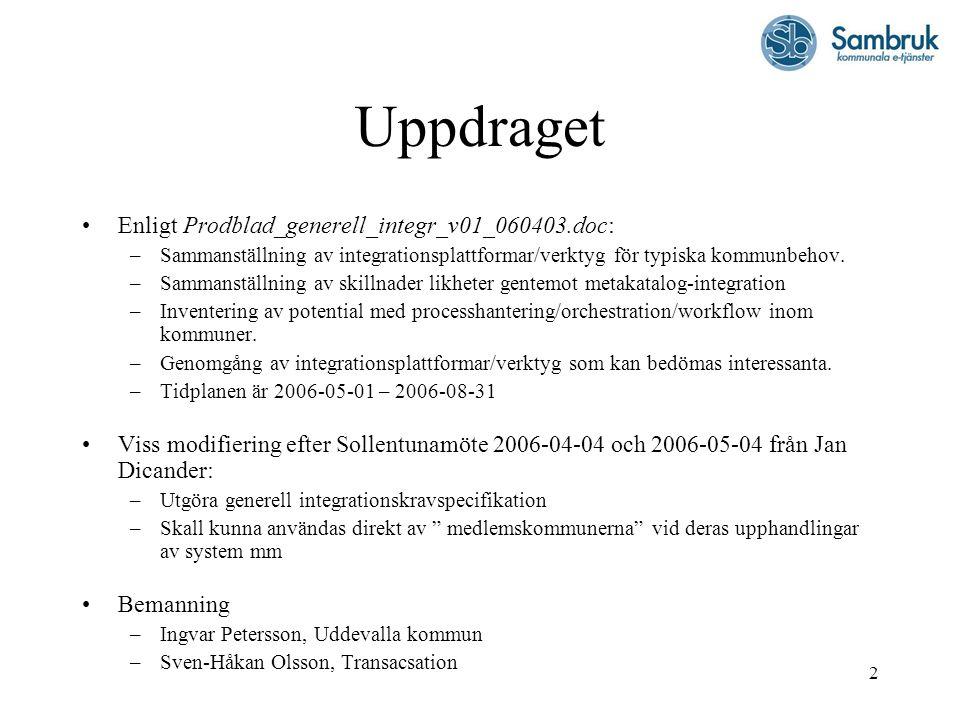 2 Uppdraget Enligt Prodblad_generell_integr_v01_060403.doc: –Sammanställning av integrationsplattformar/verktyg för typiska kommunbehov. –Sammanställn