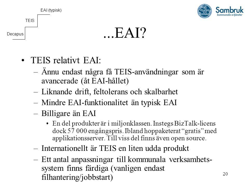 20...EAI? TEIS relativt EAI: –Ännu endast några få TEIS-användningar som är avancerade (åt EAI-hållet) –Liknande drift, feltolerans och skalbarhet –Mi