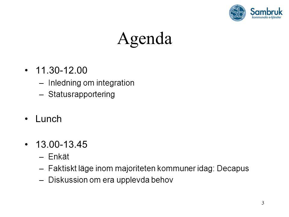 3 Agenda 11.30-12.00 –Inledning om integration –Statusrapportering Lunch 13.00-13.45 –Enkät –Faktiskt läge inom majoriteten kommuner idag: Decapus –Di