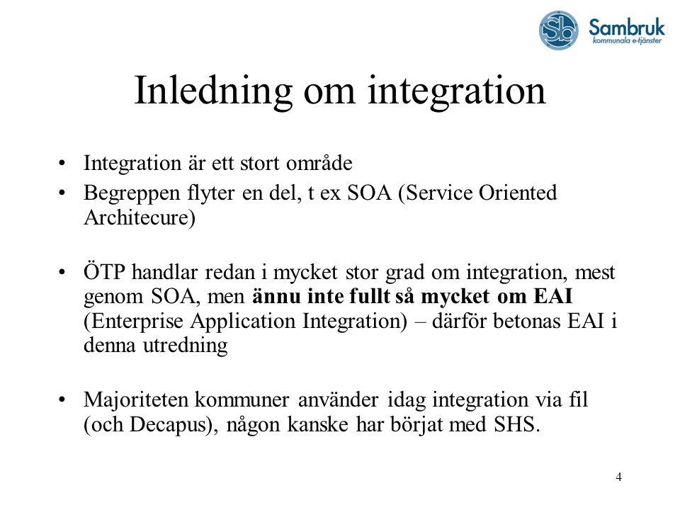 4 Inledning om integration Integration är ett stort område Begreppen flyter en del, t ex SOA (Service Oriented Architecure) ÖTP handlar redan i mycket