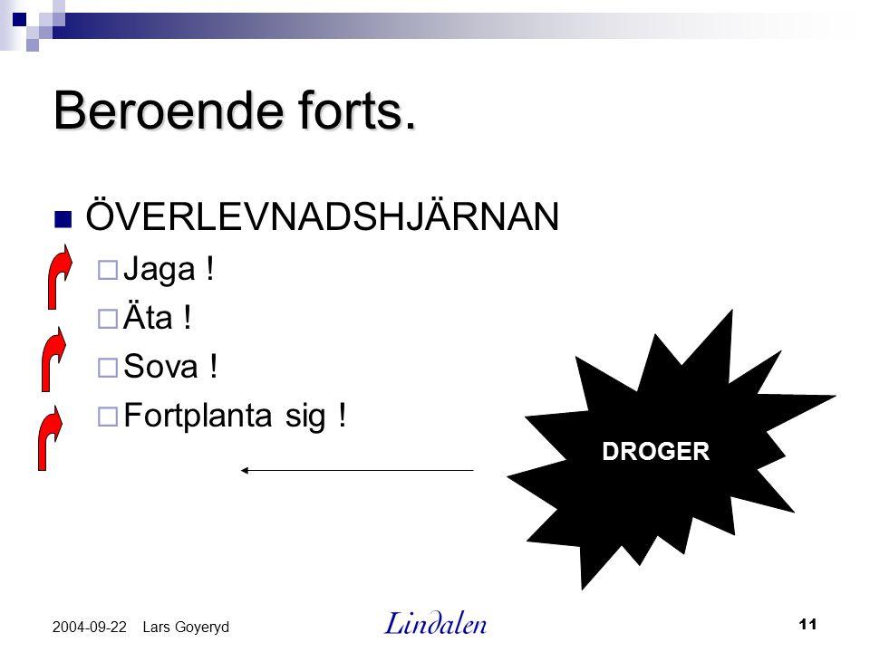 11 2004-09-22 Lars Goyeryd Beroende forts. ÖVERLEVNADSHJÄRNAN  Jaga !  Äta !  Sova !  Fortplanta sig ! DROGER