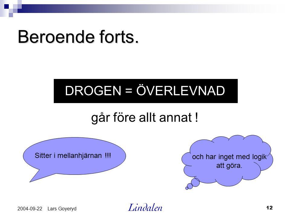 12 2004-09-22 Lars Goyeryd Beroende forts. DROGEN = ÖVERLEVNAD går före allt annat ! Sitter i mellanhjärnan !!! och har inget med logik att göra.