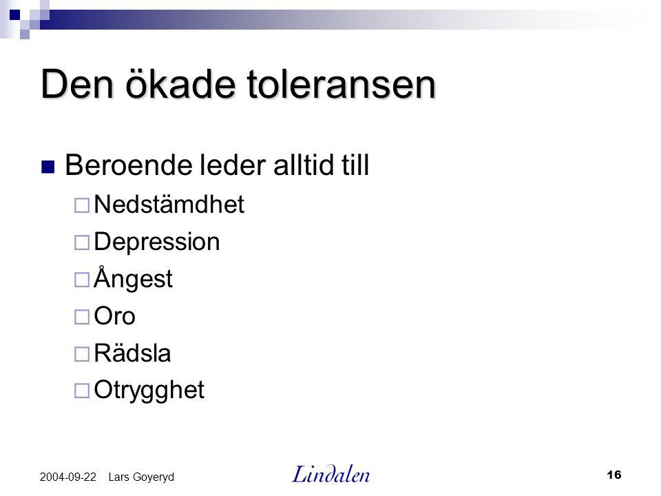 16 2004-09-22 Lars Goyeryd Den ökade toleransen Beroende leder alltid till  Nedstämdhet  Depression  Ångest  Oro  Rädsla  Otrygghet