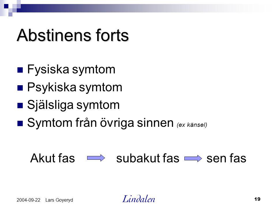 19 2004-09-22 Lars Goyeryd Abstinens forts Fysiska symtom Psykiska symtom Själsliga symtom Symtom från övriga sinnen (ex känsel) Akut fas subakut fas