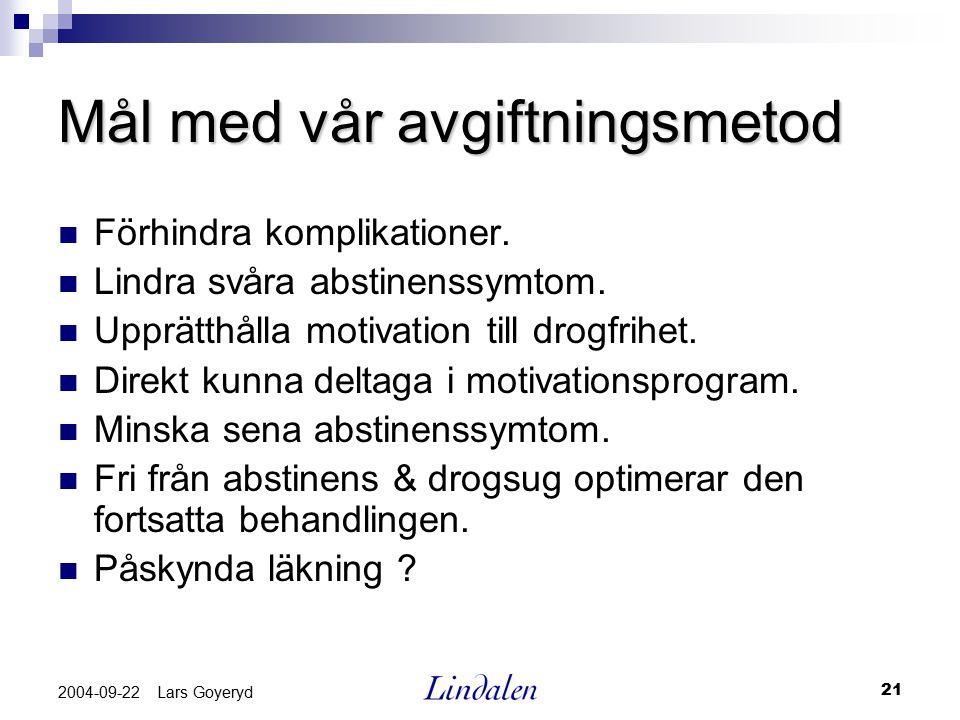 21 2004-09-22 Lars Goyeryd Mål med vår avgiftningsmetod Förhindra komplikationer. Lindra svåra abstinenssymtom. Upprätthålla motivation till drogfrihe