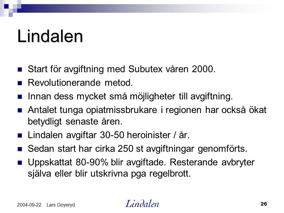 26 2004-09-22 Lars Goyeryd Lindalen Start för avgiftning med Subutex våren 2000. Revolutionerande metod. Innan dess mycket små möjligheter till avgift