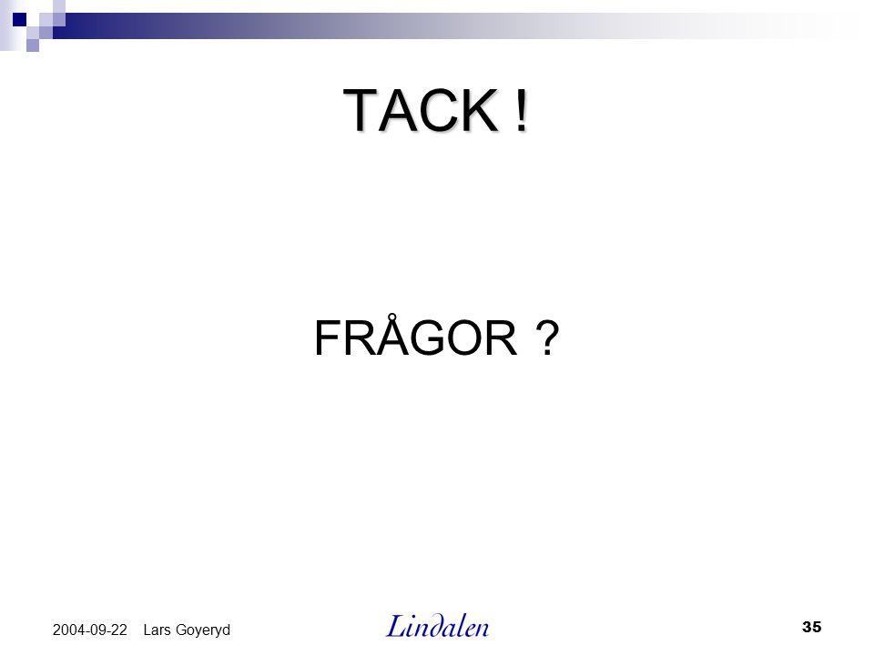 35 2004-09-22 Lars Goyeryd TACK ! FRÅGOR ?