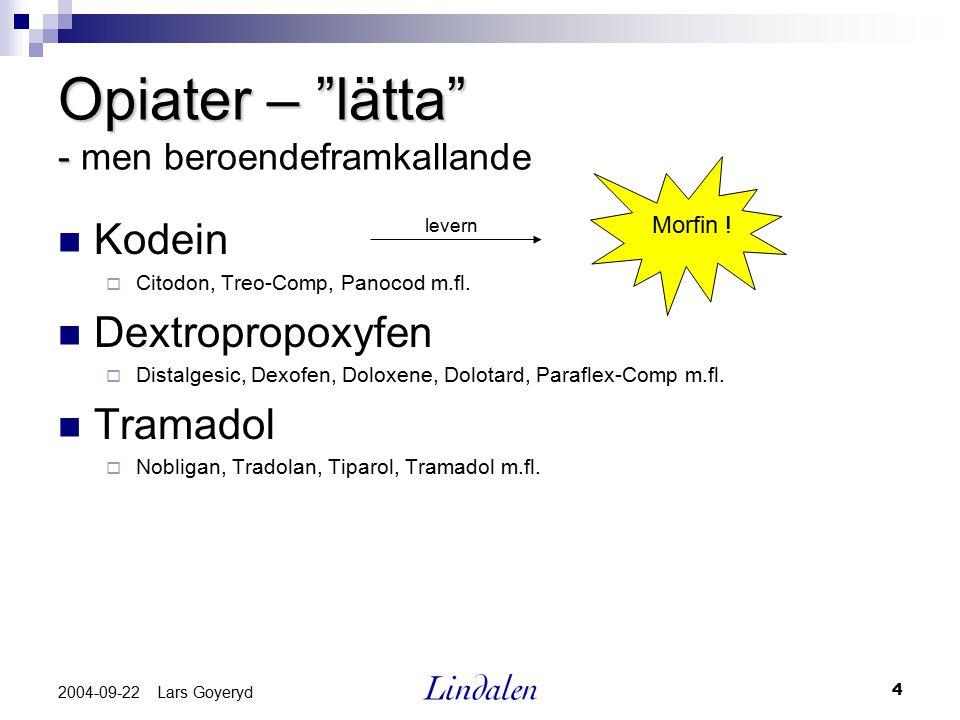"4 2004-09-22 Lars Goyeryd Opiater – ""lätta"" - Opiater – ""lätta"" - men beroendeframkallande Kodein  Citodon, Treo-Comp, Panocod m.fl. Dextropropoxyfen"