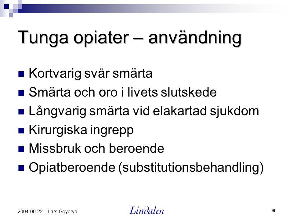 6 2004-09-22 Lars Goyeryd Tunga opiater – användning Kortvarig svår smärta Smärta och oro i livets slutskede Långvarig smärta vid elakartad sjukdom Ki