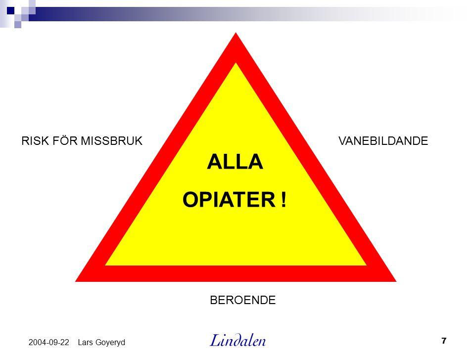 7 2004-09-22 Lars Goyeryd ALLA OPIATER ! RISK FÖR MISSBRUK BEROENDE VANEBILDANDE
