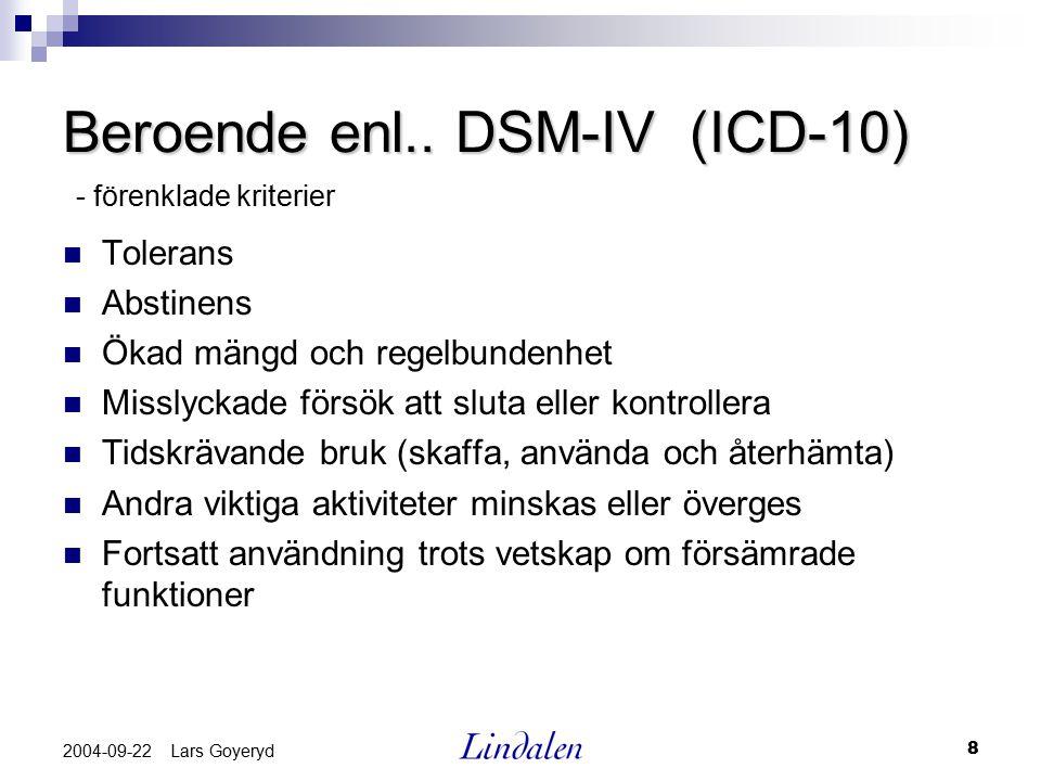 8 2004-09-22 Lars Goyeryd Beroende enl.. DSM-IV (ICD-10) Tolerans Abstinens Ökad mängd och regelbundenhet Misslyckade försök att sluta eller kontrolle