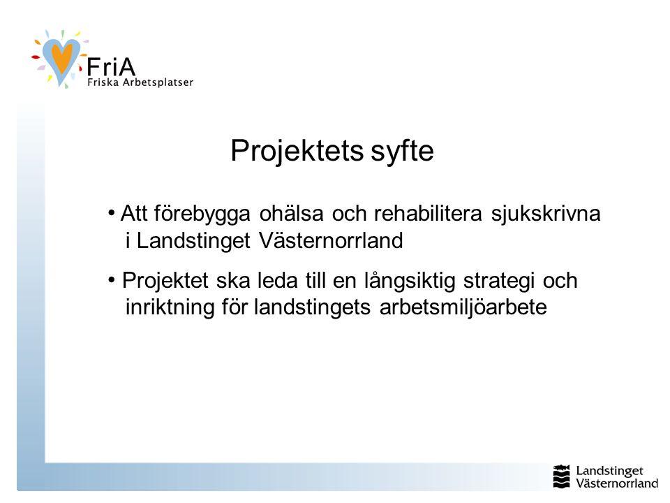 Projektets syfte Att förebygga ohälsa och rehabilitera sjukskrivna i Landstinget Västernorrland Projektet ska leda till en långsiktig strategi och inriktning för landstingets arbetsmiljöarbete