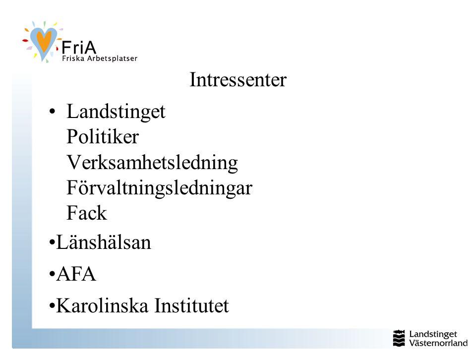 Intressenter Landstinget Politiker Verksamhetsledning Förvaltningsledningar Fack Länshälsan AFA Karolinska Institutet