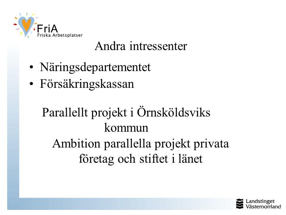 Näringsdepartementet Andra intressenter Försäkringskassan Ambition parallella projekt privata företag och stiftet i länet Parallellt projekt i Örnsköldsviks kommun