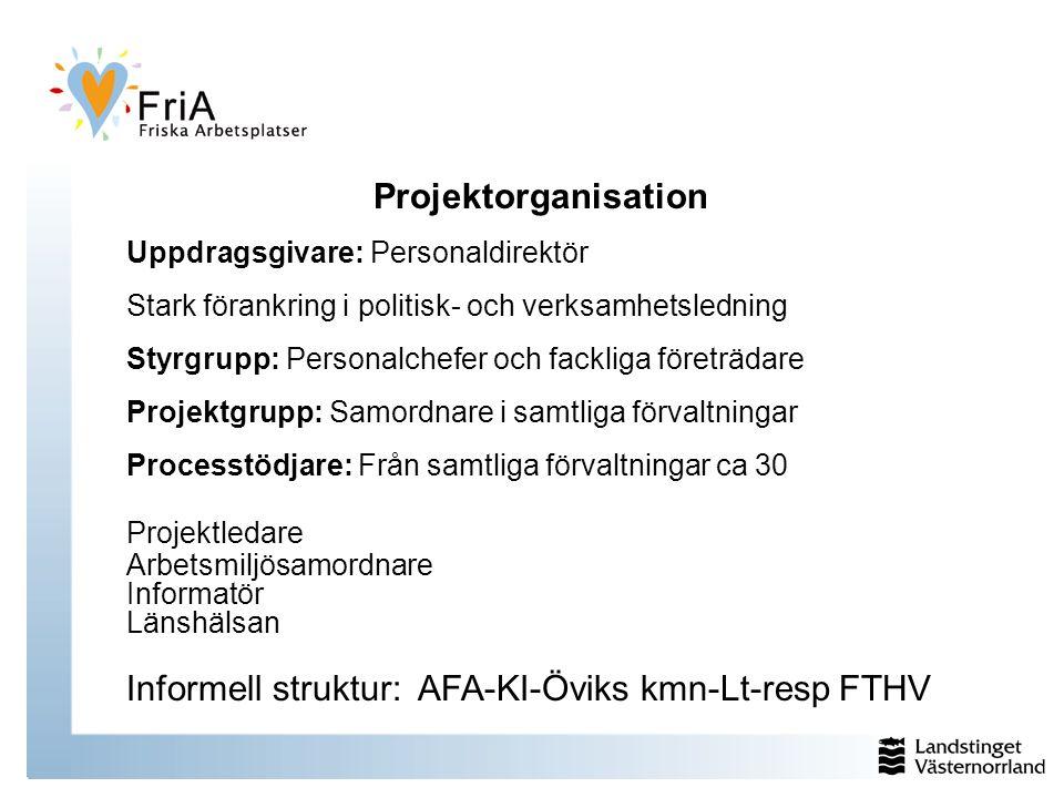 Projektorganisation Uppdragsgivare: Personaldirektör Stark förankring i politisk- och verksamhetsledning Styrgrupp: Personalchefer och fackliga företr