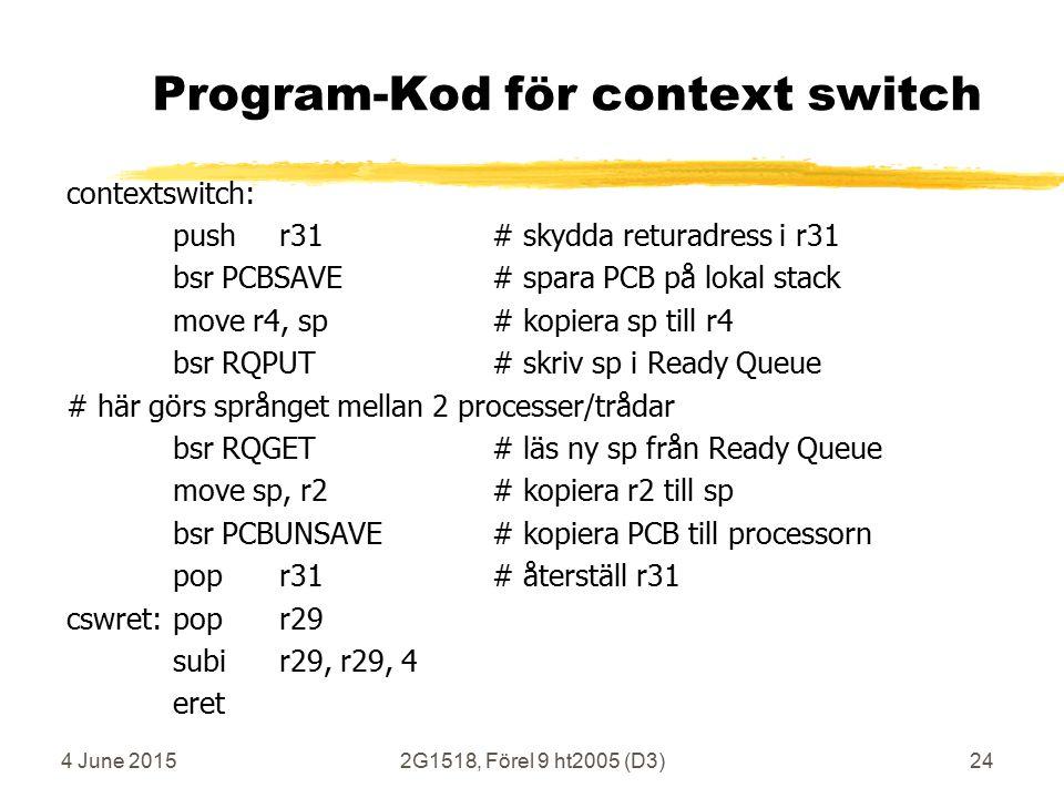 4 June 20152G1518, Förel 9 ht2005 (D3)24 Program-Kod för context switch contextswitch: pushr31# skydda returadress i r31 bsr PCBSAVE# spara PCB på lokal stack move r4, sp# kopiera sp till r4 bsr RQPUT# skriv sp i Ready Queue # här görs språnget mellan 2 processer/trådar bsr RQGET # läs ny sp från Ready Queue move sp, r2# kopiera r2 till sp bsr PCBUNSAVE # kopiera PCB till processorn popr31# återställ r31 cswret:popr29 subir29, r29, 4 eret