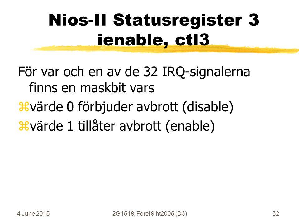 4 June 20152G1518, Förel 9 ht2005 (D3)32 Nios-II Statusregister 3 ienable, ctl3 För var och en av de 32 IRQ-signalerna finns en maskbit vars zvärde 0 förbjuder avbrott (disable) zvärde 1 tillåter avbrott (enable)