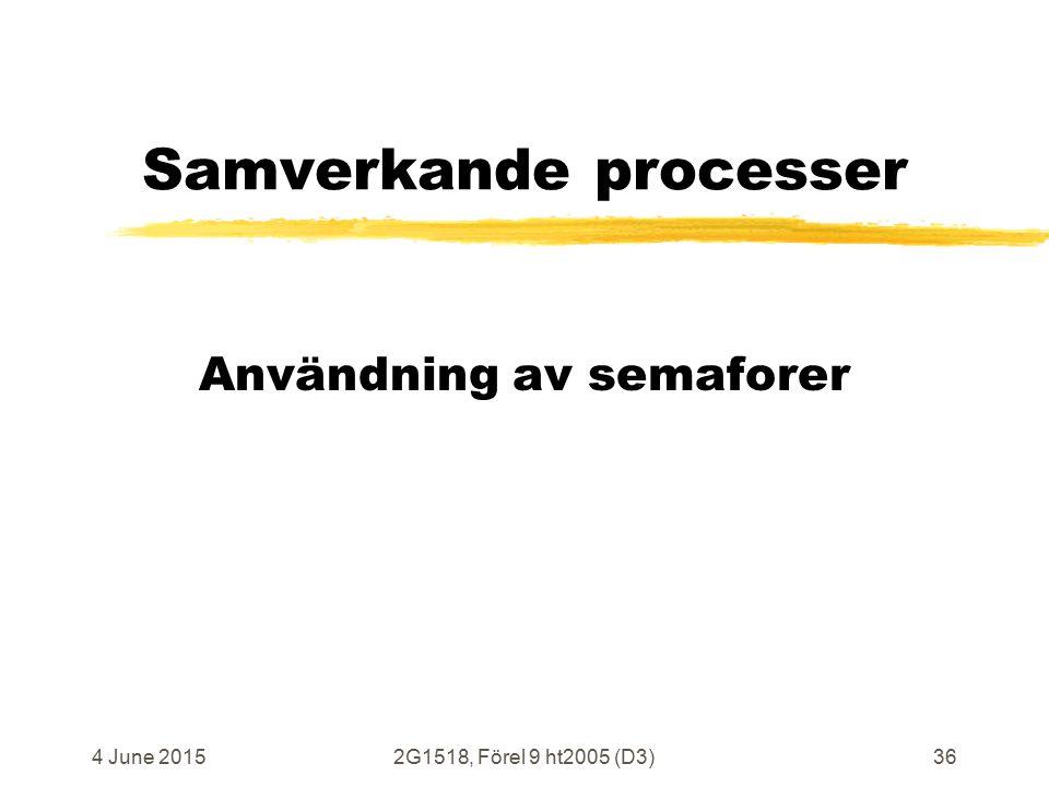 4 June 20152G1518, Förel 9 ht2005 (D3)36 Samverkande processer Användning av semaforer
