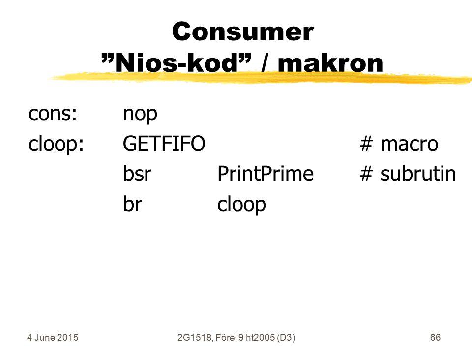 4 June 20152G1518, Förel 9 ht2005 (D3)66 Consumer Nios-kod / makron cons:nop cloop:GETFIFO# macro bsrPrintPrime# subrutin brcloop