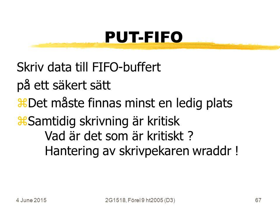4 June 20152G1518, Förel 9 ht2005 (D3)67 PUT-FIFO Skriv data till FIFO-buffert på ett säkert sätt zDet måste finnas minst en ledig plats zSamtidig skrivning är kritisk Vad är det som är kritiskt .
